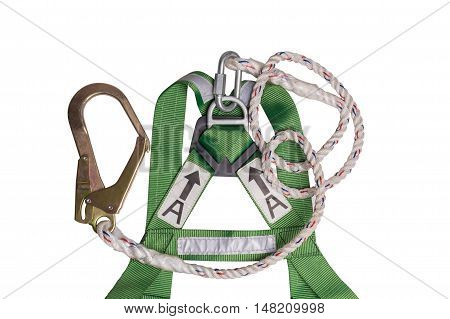 Fall Protection Harness And Lanyard For Work At Heights On White Background.