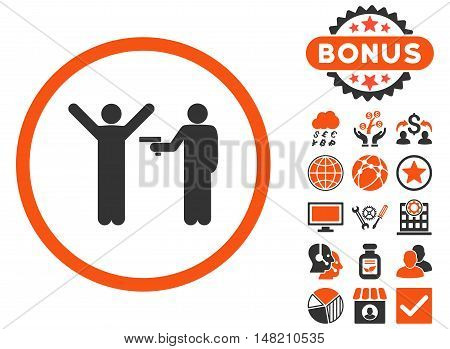 Crime icon with bonus images. Vector illustration style is flat iconic bicolor symbols, orange and gray colors, white background.