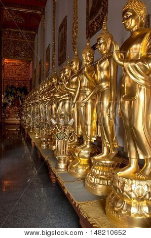 Golden budha at northen temple in Mae Taeng Chiang Mai Thailand.