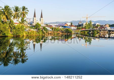 River View And Cathedrad Of The Immaculate Conception, Catholic Church In Chanthaburi,thailand.