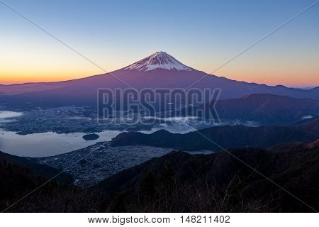 Mt.Fuji and Kawaguchiko lake with sea of mist in autumn season