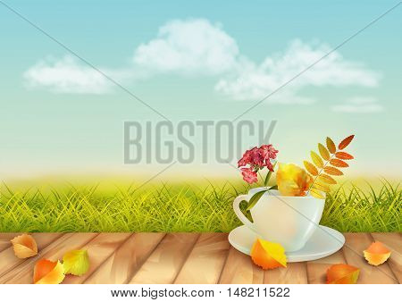 Vector autumn day natural background with cup, flowers, fall leaves, textured wooden floor against blue sky