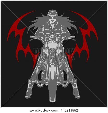 Vintage motorcycle garage motor club emblem with sexy girl on black background.