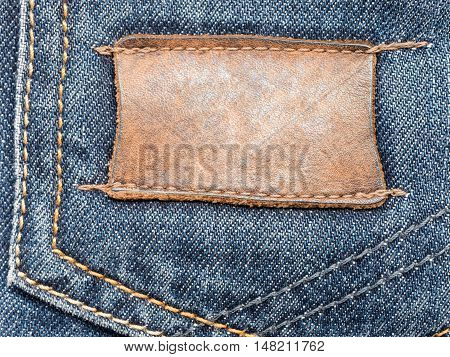 close up of jeans label with copy space