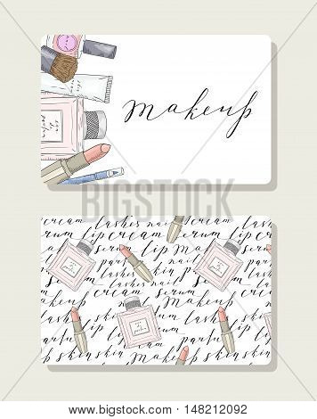 Business card for makeup artist, pattern with handwritten words about beauty, cosmetics and makeup. Perfume and lipstick. Black text on a white background.