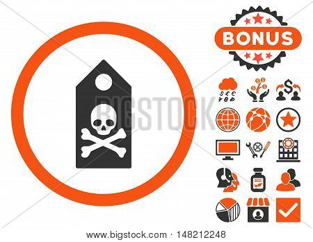 Death Mark icon with bonus images. Vector illustration style is flat iconic bicolor symbols, orange and gray colors, white background.