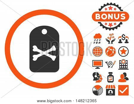 Death Tag icon with bonus pictures. Vector illustration style is flat iconic bicolor symbols, orange and gray colors, white background.