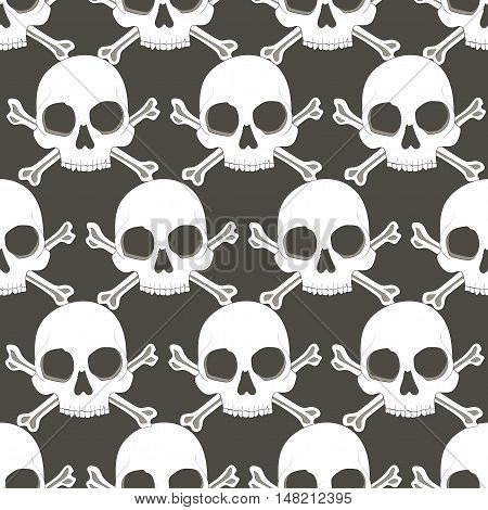 Seamless pattern white skulls on dark background vector illustration