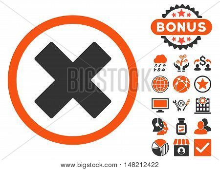 Delete X-Cross icon with bonus images. Vector illustration style is flat iconic bicolor symbols, orange and gray colors, white background.