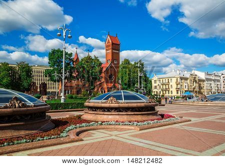 Church of St. Simon and Alena on Independence Square in Minsk
