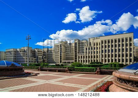 Minsk. Government House and the monument to Lenin on Independence Square a background of blue sky 25 August 2016