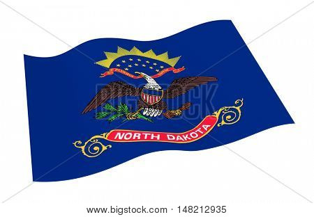 North Dakota flag isolated on white background from world flags set. 3D illustration.