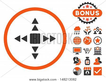 Direction Triangles icon with bonus symbols. Vector illustration style is flat iconic bicolor symbols, orange and gray colors, white background.