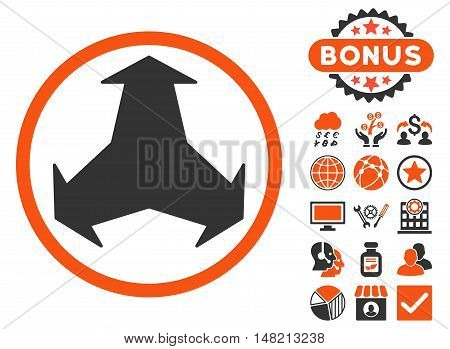 Directions icon with bonus images. Vector illustration style is flat iconic bicolor symbols, orange and gray colors, white background.