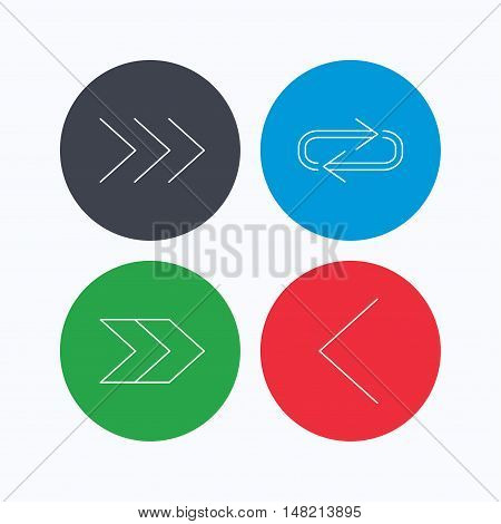 Arrows icons. Right direction, repeat linear signs. Next, back arrows flat line icons. Linear icons on colored buttons. Flat web symbols. Vector