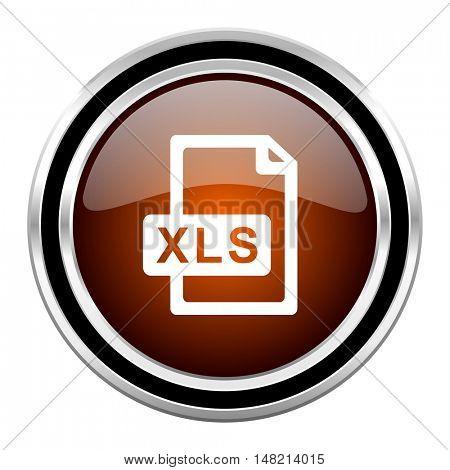 xls file round circle glossy metallic chrome web icon isolated on white background