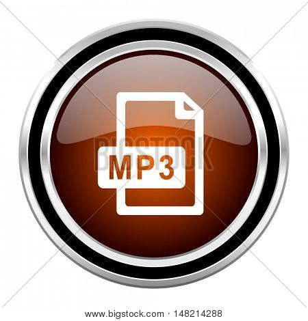 mp3 file round circle glossy metallic chrome web icon isolated on white background