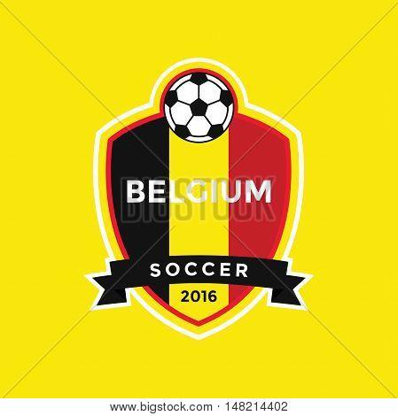 Belgium Soccer Badge with Nation Flag, vector illustration