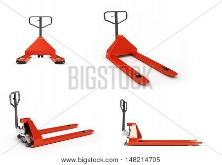 Collection Of Hand Pallet Trucks 3D Render On White