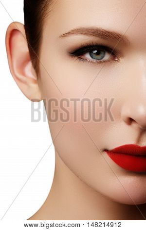 Close-up Portrait Of Sexy Caucasian Young Woman Model With Glamo