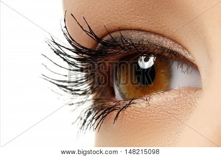 Close-up Macro Of Beautiful Female Eye. Clean Skin, Fashion Natu