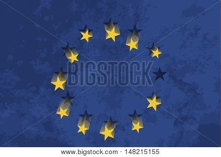 True proportions European Union flag with falling stars and grunge texture