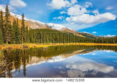 The concept of ecotourism. Shallow marshy lake in the Rocky Mountains.  The mountains are covered in the snow. Autumn in Canada