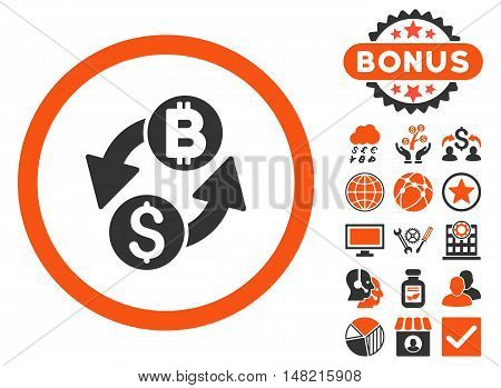 Dollar Bitcoin Exchange icon with bonus elements. Vector illustration style is flat iconic bicolor symbols, orange and gray colors, white background.