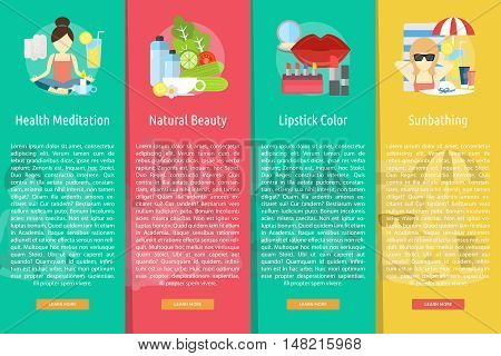 Beauty and Fashion Vertical Banner Concept | Set of great vertical banner flat design illustration concepts for beauty, fashion, stylist, cosmetic and much more.
