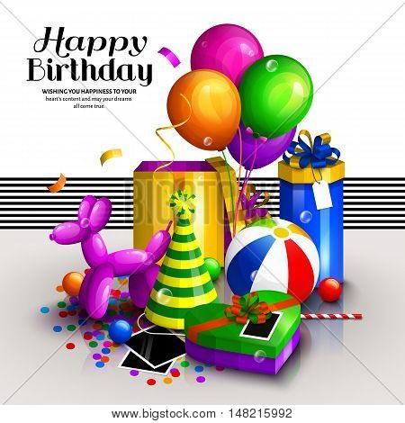 Happy birthday greeting card. Pile of colorful wrapped gift boxes. Lots of presents and toys. Party balloons, dog balloon, hat, confetti, playing ball on the floor.