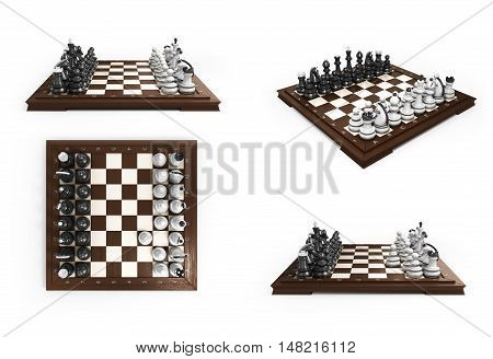 Collection Of Wooden Chess Laid In The Original Position On The Chessboard 3D Render On White Backgr