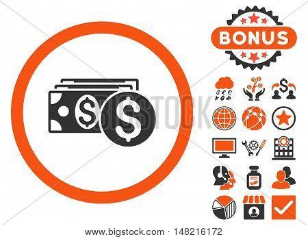 Dollar Cash icon with bonus elements. Vector illustration style is flat iconic bicolor symbols, orange and gray colors, white background.