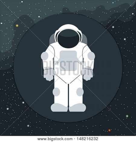 Digital vector with astronaut in space icon, over background with stars, flat style