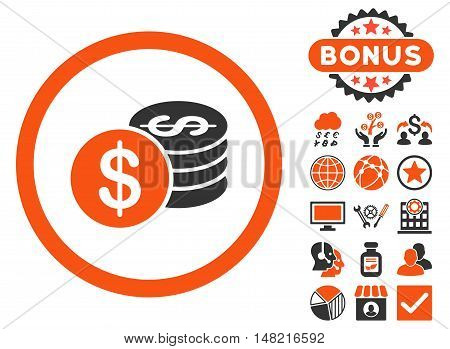 Dollar Coins icon with bonus pictures. Vector illustration style is flat iconic bicolor symbols, orange and gray colors, white background.