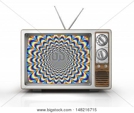 Television as influential mass media - hypnotic spiral on the screen. Metaphor of mind control propaganda brainwashing and manipulation caused by watching TV and mainstream broadcasting. Retro TV. 3d illustration