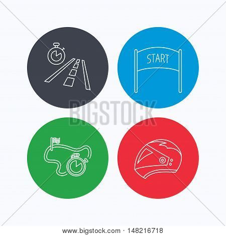 Motorcycle helmet, race timer and travel time icons. Start race linear sign. Linear icons on colored buttons. Flat web symbols. Vector