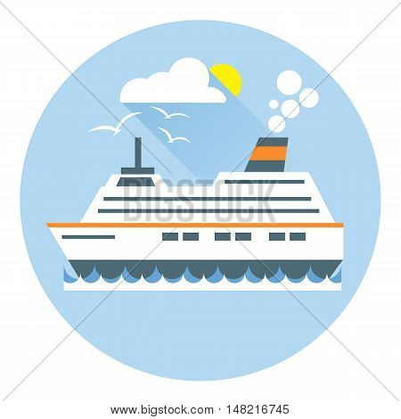 Digital vector with ocean ship boat icon with sun and birds, over white background with waves and water, flat style