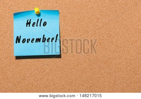Hello November message on the blue sticker pinned at notice cork board. Autumn concept. With empty space for text.