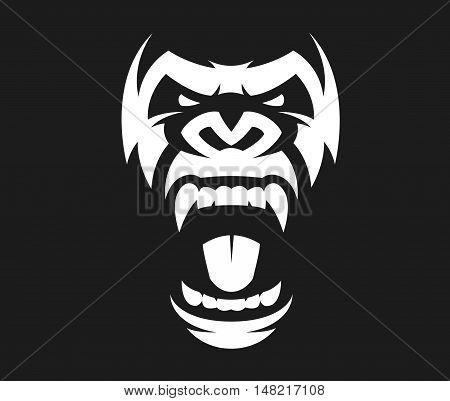 Vector illustration head evil ferocious gorilla shouts mascot