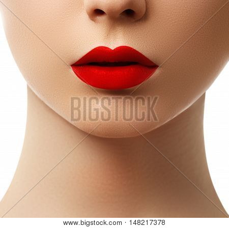 Close-up Shot Of Woman Lips With  Red Lipstick. Beautiful Perfec