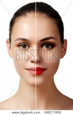 Beautiful young woman before and after make-up applying. Comparison portrait. Two parts of model face with and without makeup. Two parts of face with bright make up and natural