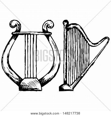 Illustration of lyre. Doodle style. Isolated on white background. Vector style