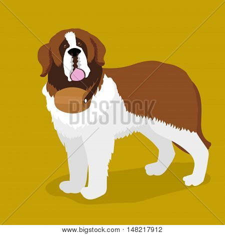 Rescue dog with a keg on his neck. Saint Bernard dog. Cartoon colorful vector illustration