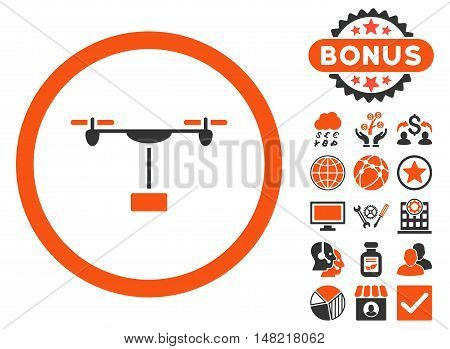 Drone Shipment icon with bonus symbols. Vector illustration style is flat iconic bicolor symbols, orange and gray colors, white background.