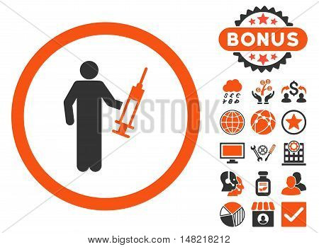 Drug Dealer icon with bonus images. Vector illustration style is flat iconic bicolor symbols, orange and gray colors, white background.