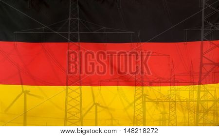 Concept Energy Distribution Flag of Germany merged with high voltage power poles