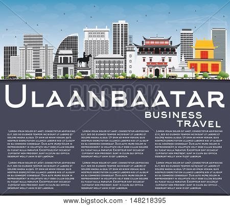 Ulaanbaatar Skyline with Gray Buildings, Blue Sky and Copy Space. Business Travel and Tourism Concept with Historic Buildings. Image for Presentation Banner Placard and Web.