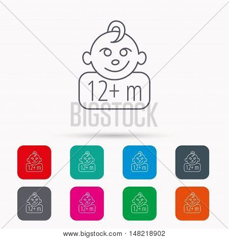 Baby face icon. Newborn child sign. Use of twelve months and plus symbol. Linear icons in squares on white background. Flat web symbols. Vector