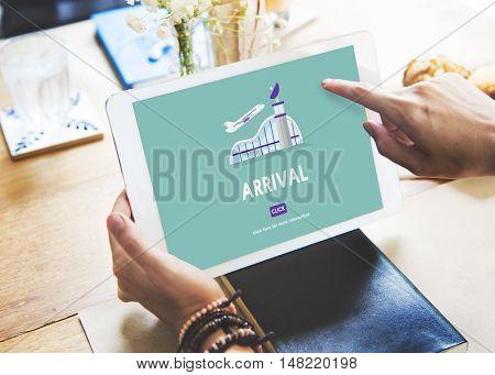 Arrival Business Trip Flights Travel Information Concept