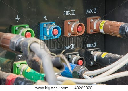 Electrical Power Cables Connected To A Temporary Outdoors Distribution Station